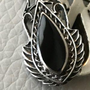 silver Jewelry - 9.25 silver earrings black stone